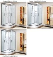 Vidalux Right Hand Pure-E 1200mm x 800mm Offset Quadrant Shower Pod  With Electric Shower